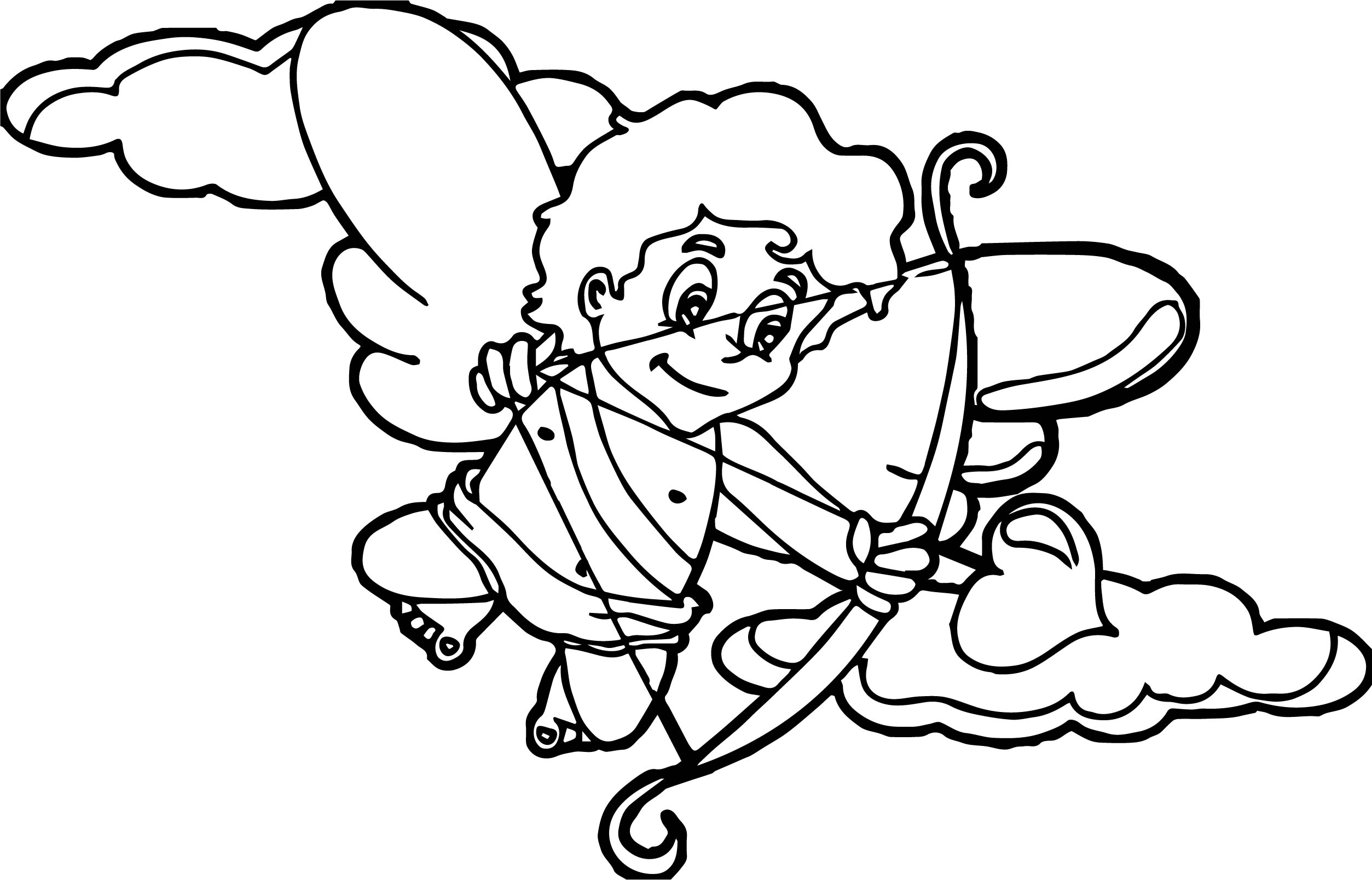 Cupido on cloud coloring page for Cloud coloring page
