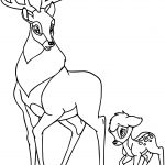 Cute Bambi and the Great Prince of the Forest Coloring Page