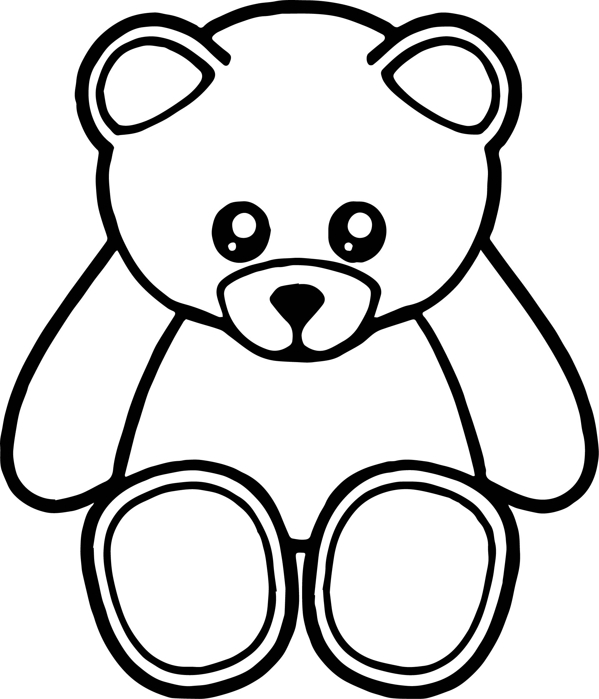 Cute Front View Bear Coloring Page