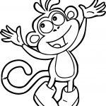 Cute Happy Dora Monkey Coloring Page