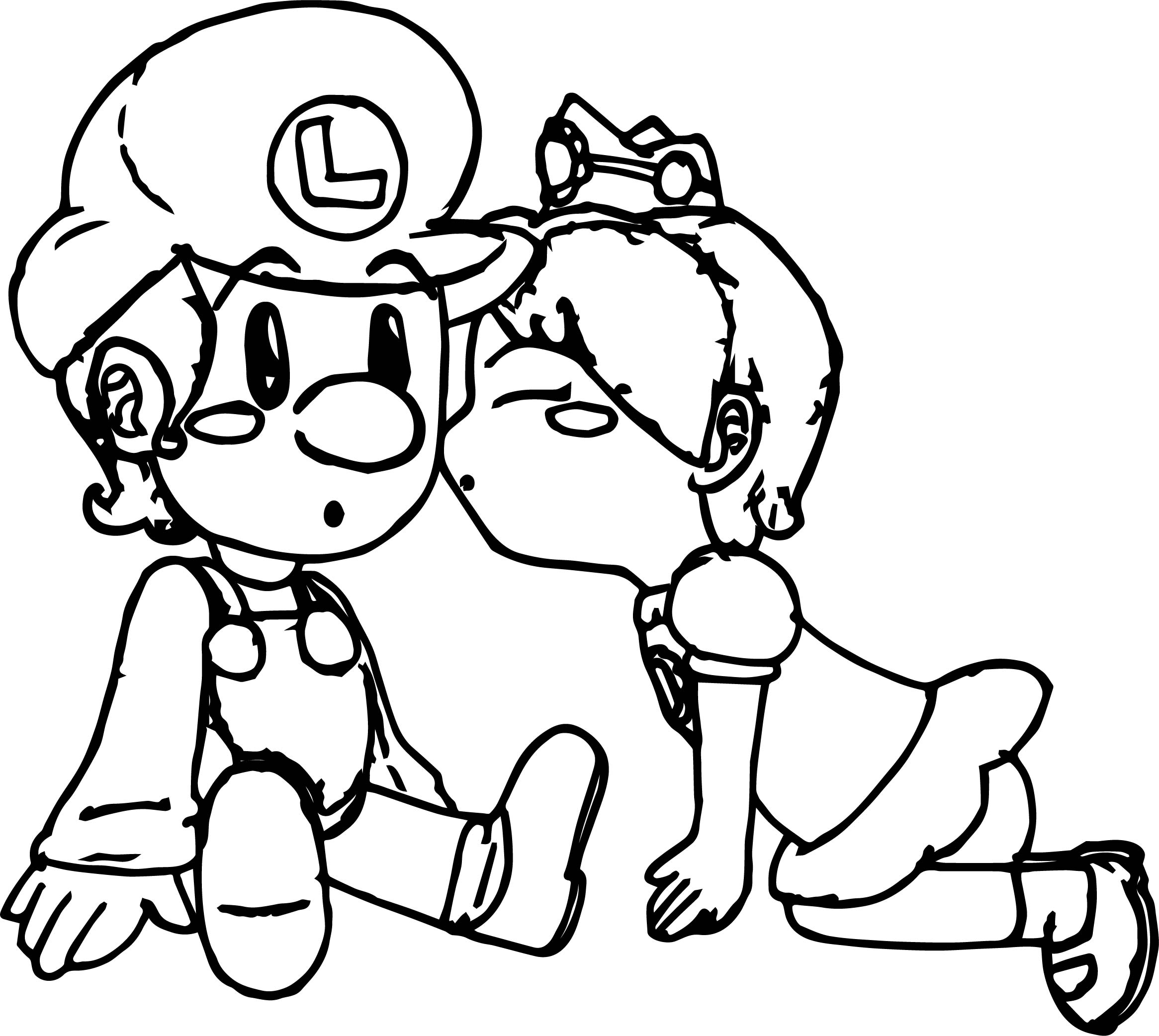 Daisy Kissing Luigi Coloring Page