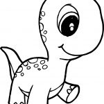 Dinosaur Cute Baby Walking Coloring Page