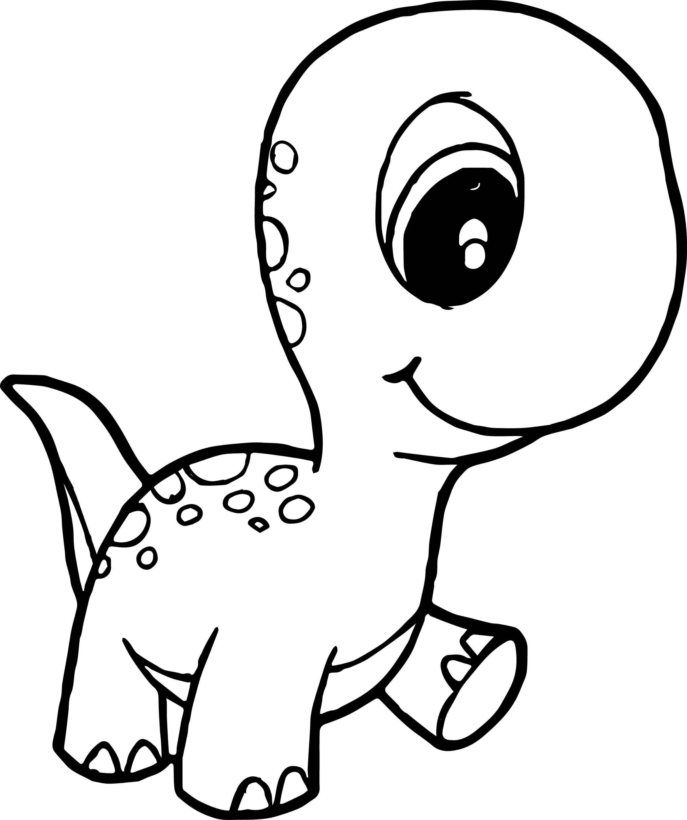 Dinosaur Cute Baby Walking Coloring Page
