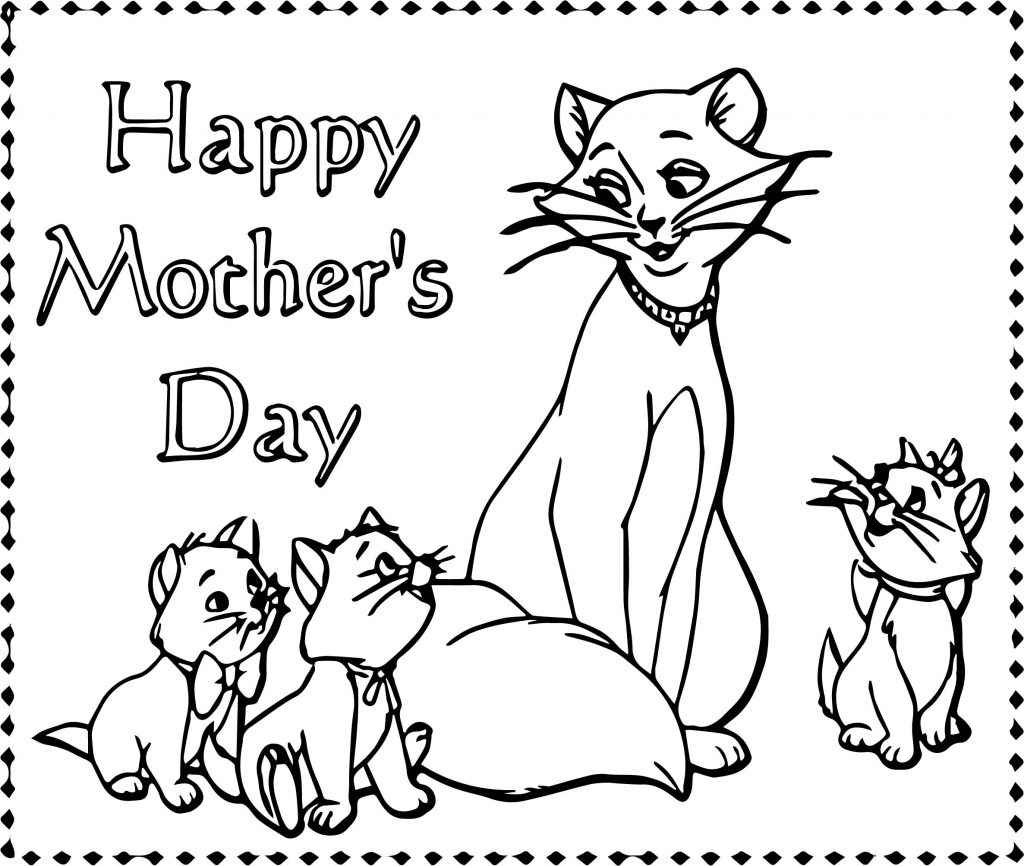 Disney The Aristocats Happy Mother Day Coloring Page