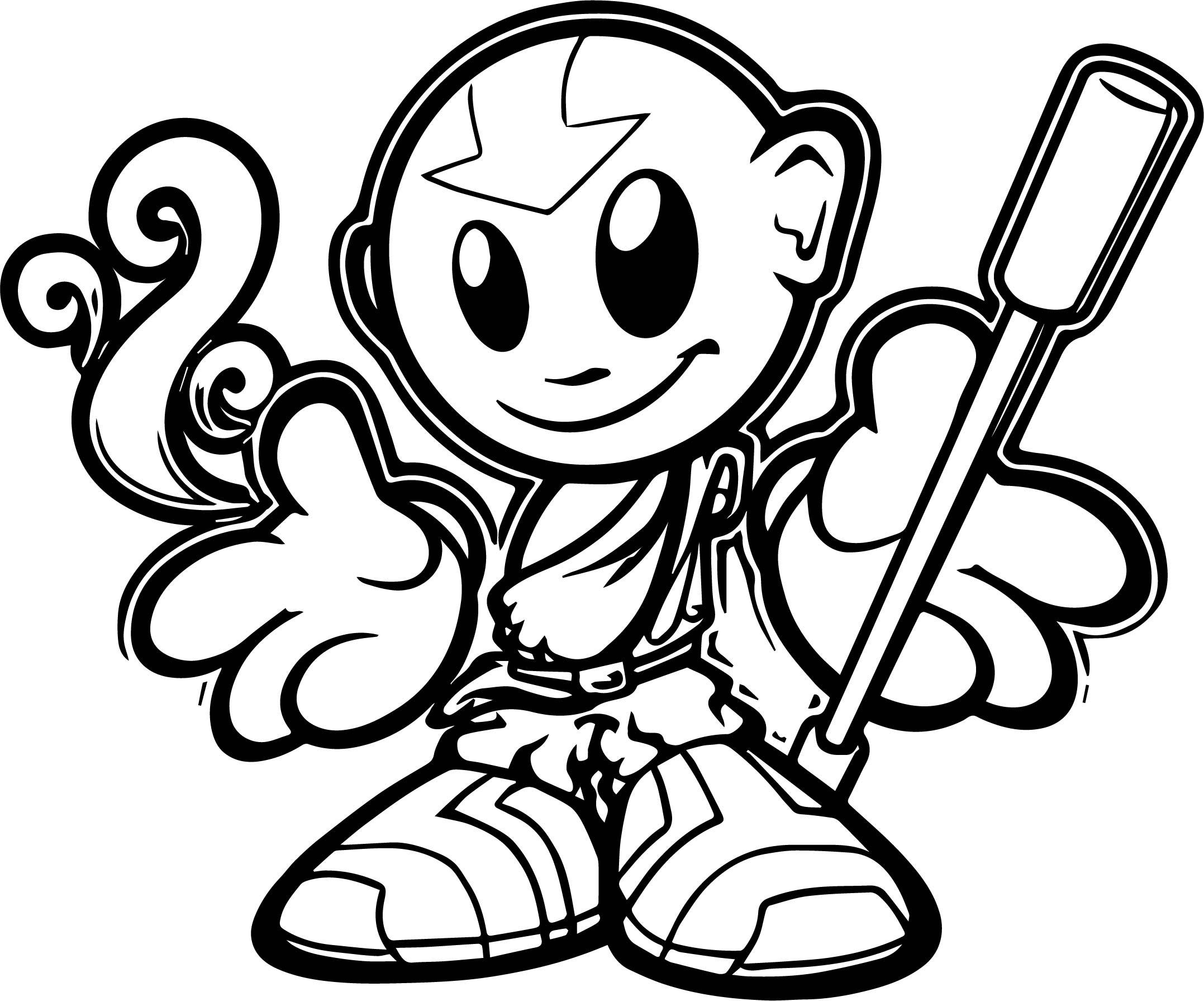 Doodle Avatar Aang Fella Avatar Aang Coloring Page