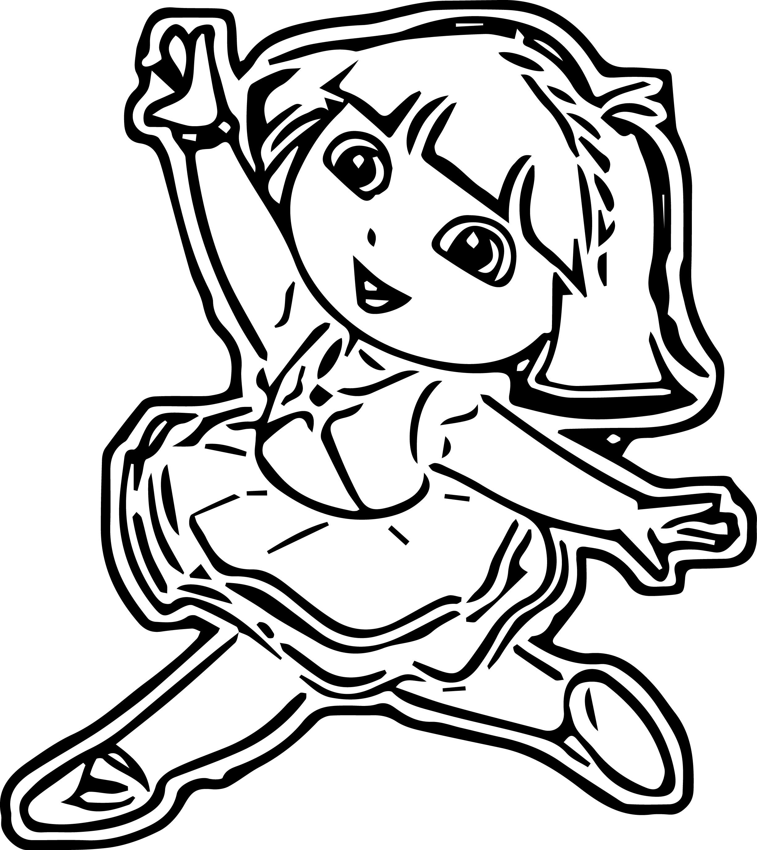 Dora Ballerina Cartoon Coloring Page