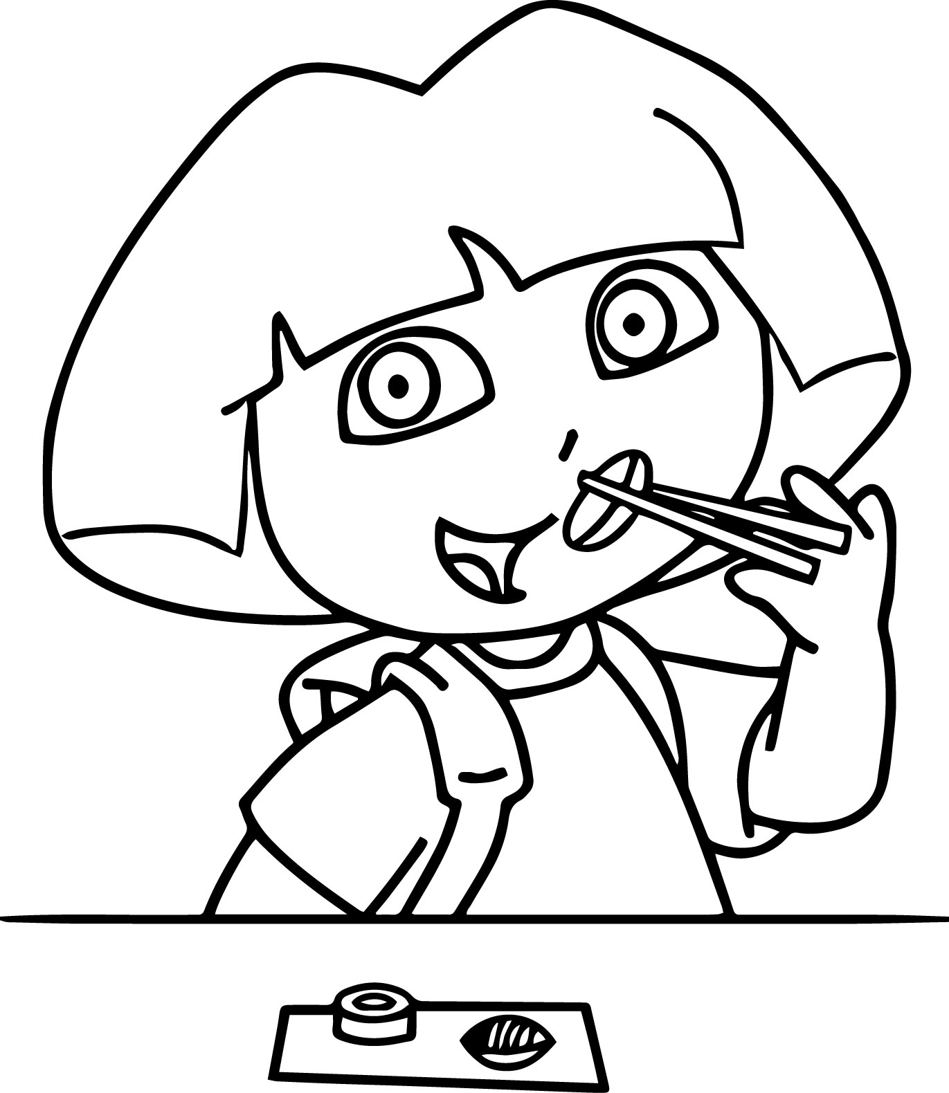 Dora Eating Sushi Coloring Page
