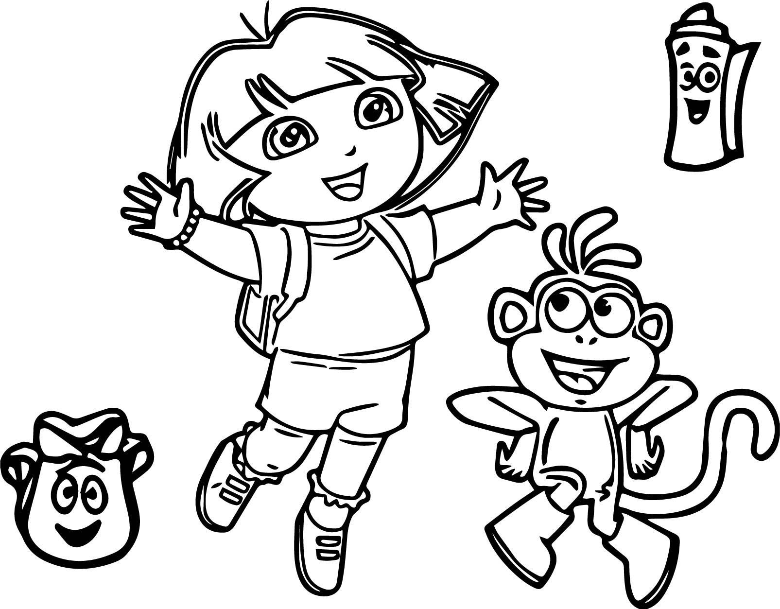 Dora Explorer Cartoon Coloring Page