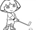 Dora Golf Training Play Coloring Page