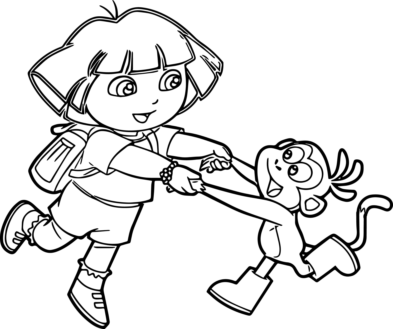 Dora Images Monkey Happy Dance Coloring Page