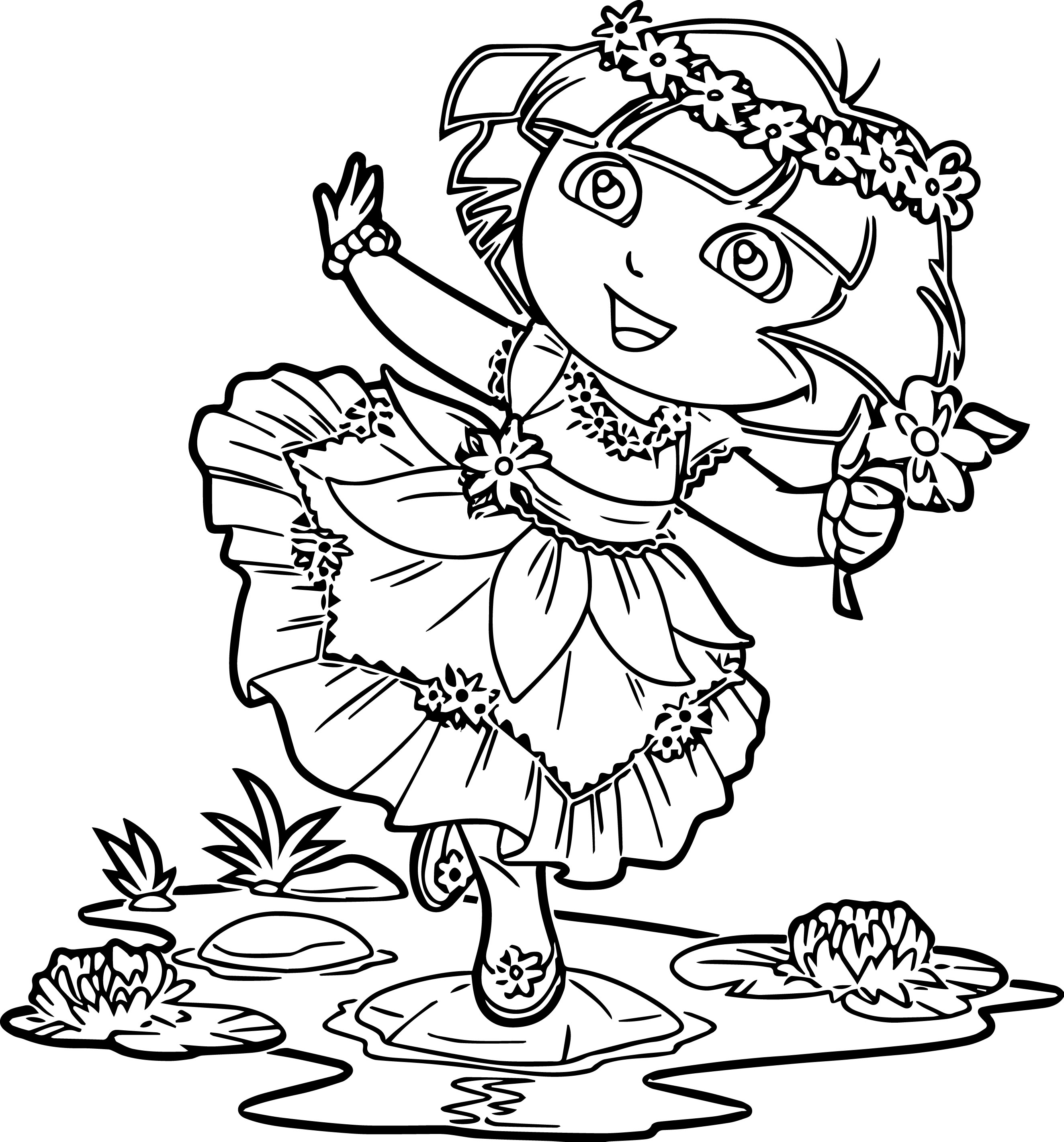 Dora In Enchanted Forest Dress Coloring Page