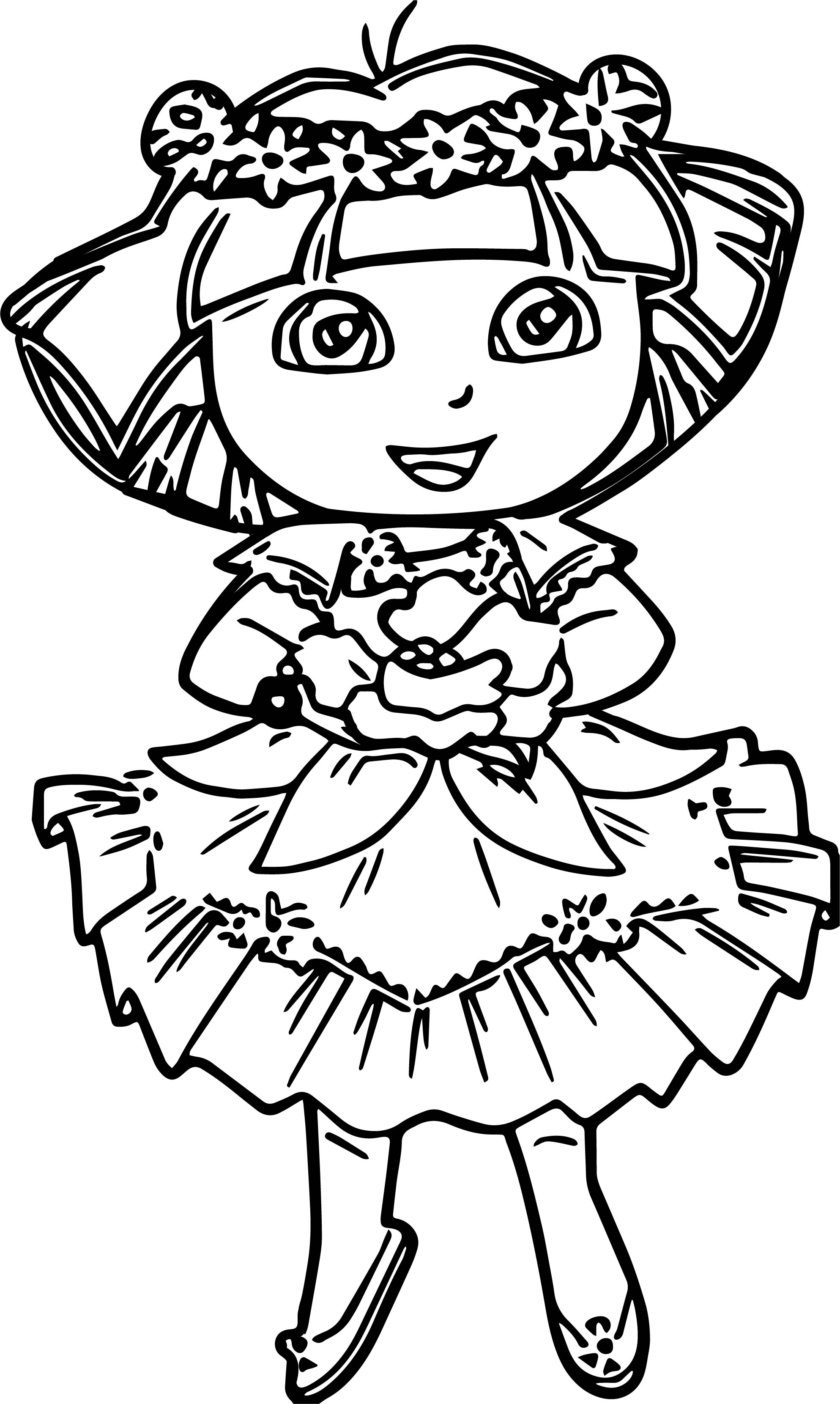Dora In Enchanted Forest Dress Coloring Pages