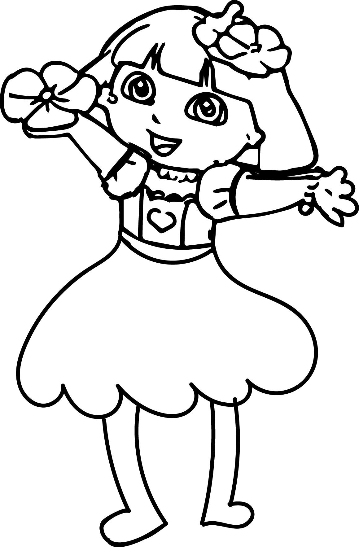 Dora Makeover Med Happy Flower Coloring Page