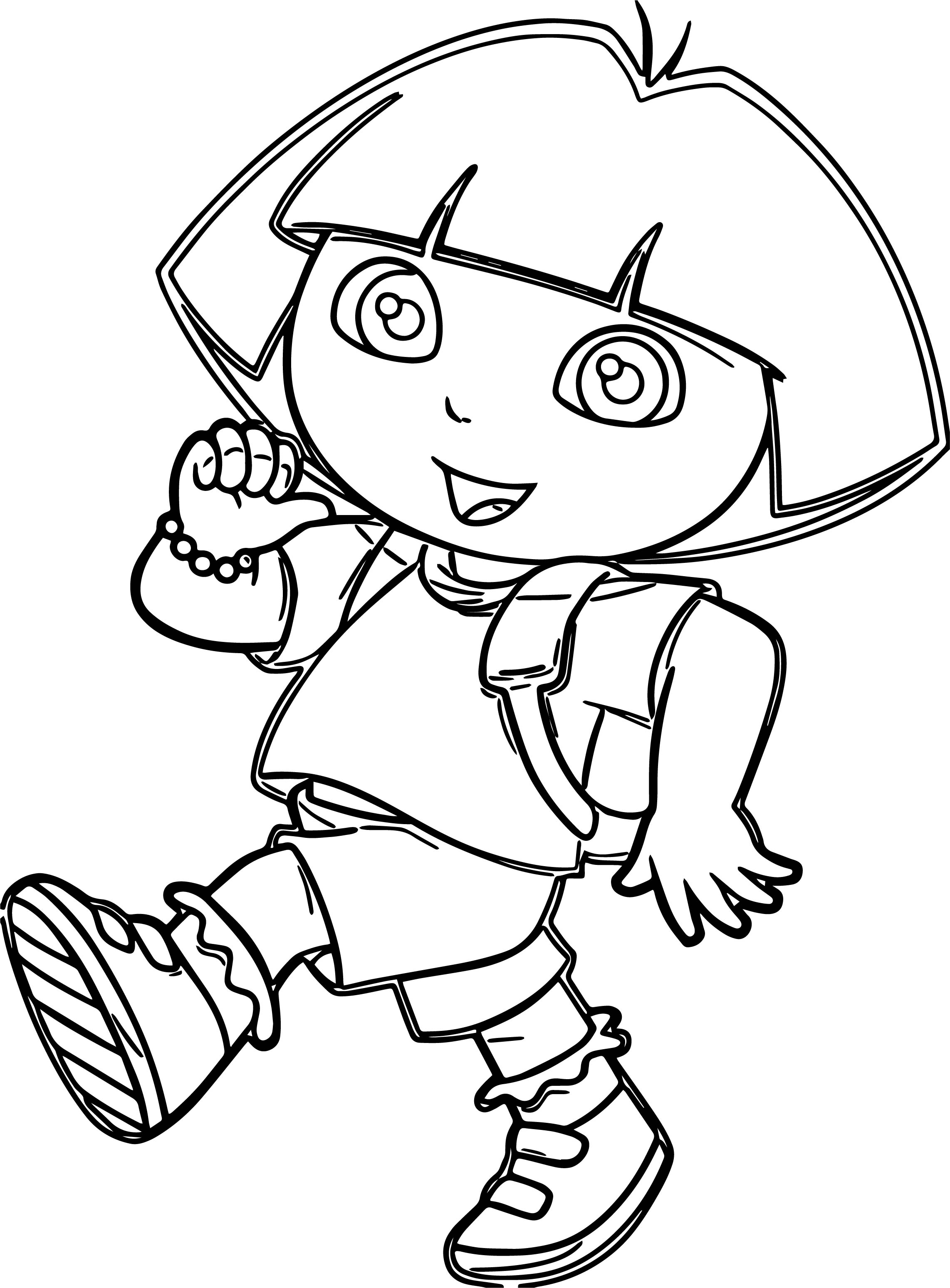Dora Marquez Walking Cartoon Coloring Page