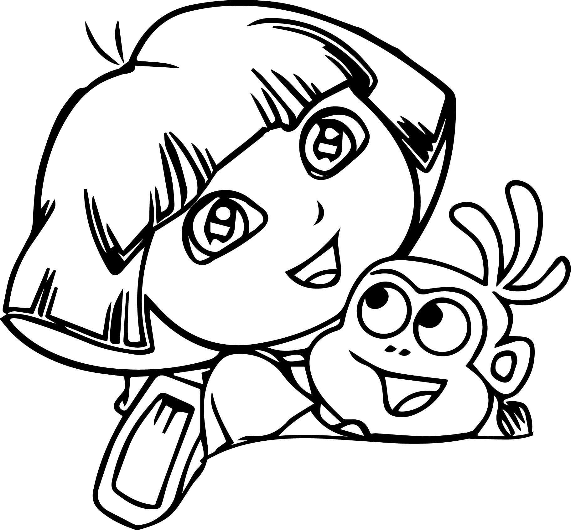 Dora Monkey Happy Coloring Page