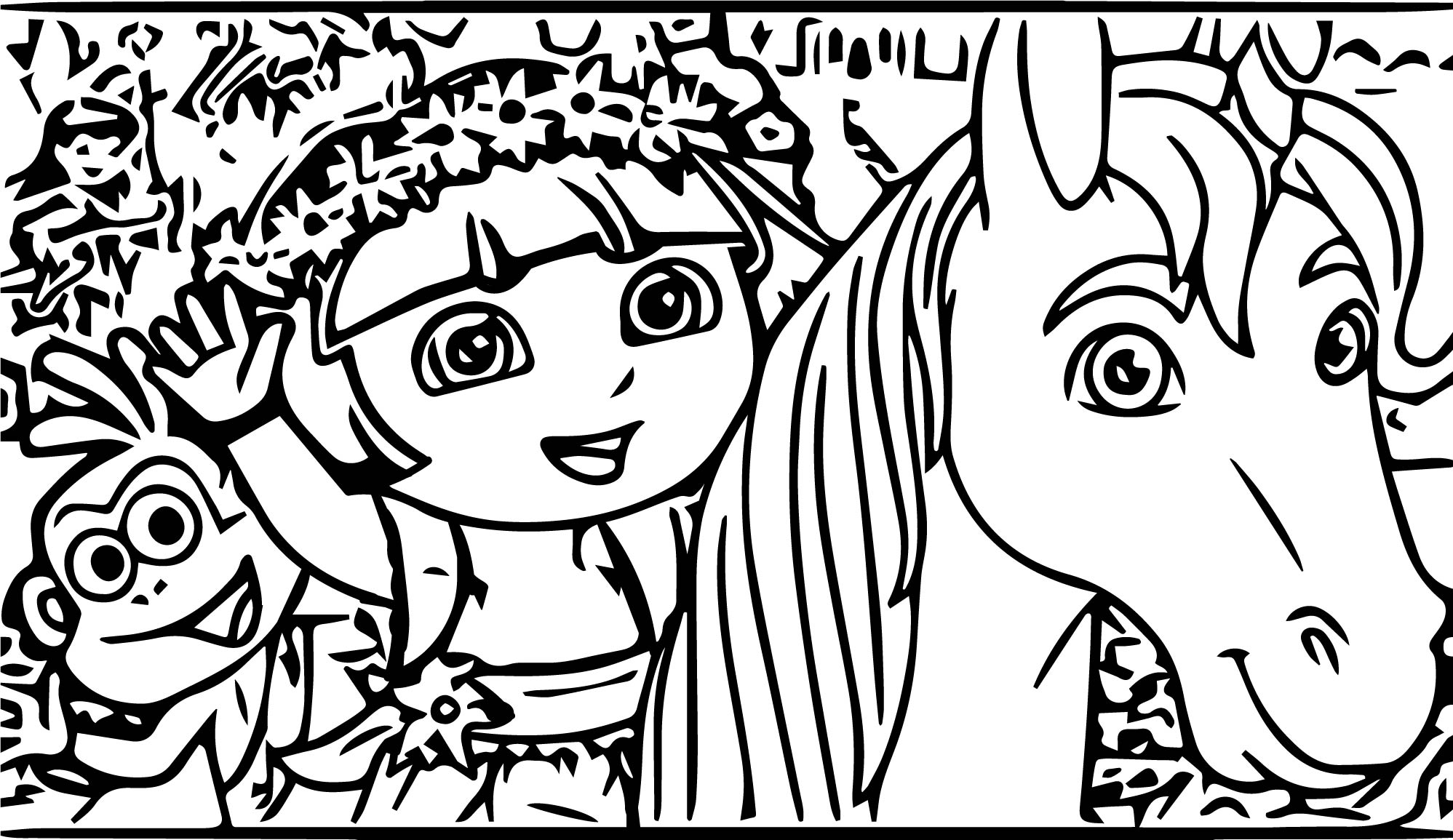 Dora Monkey Horse Coloring Page
