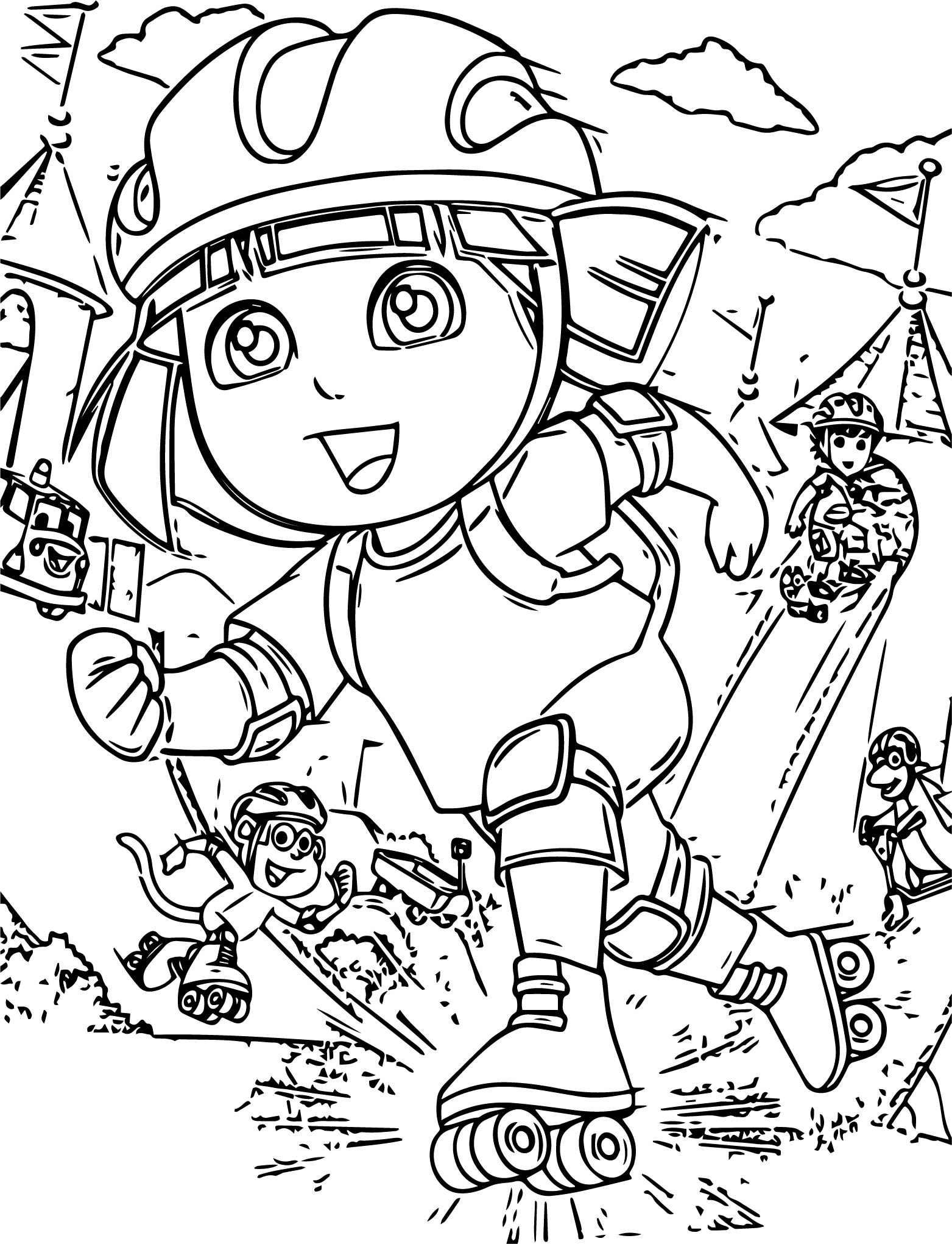 Dora Rollerskate Coloring Page Wecoloringpage Com