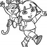 Dora The Explorer Cartoon Walking Coloring Page