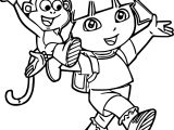 Dora The Explorer Cartoon Walking Coloring Page