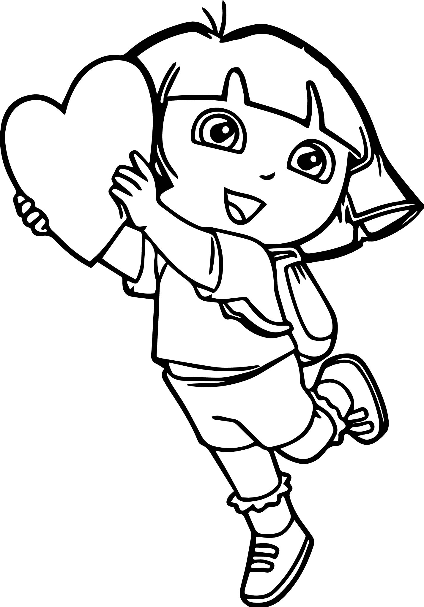 Dora The Explorer My Heart Coloring Page