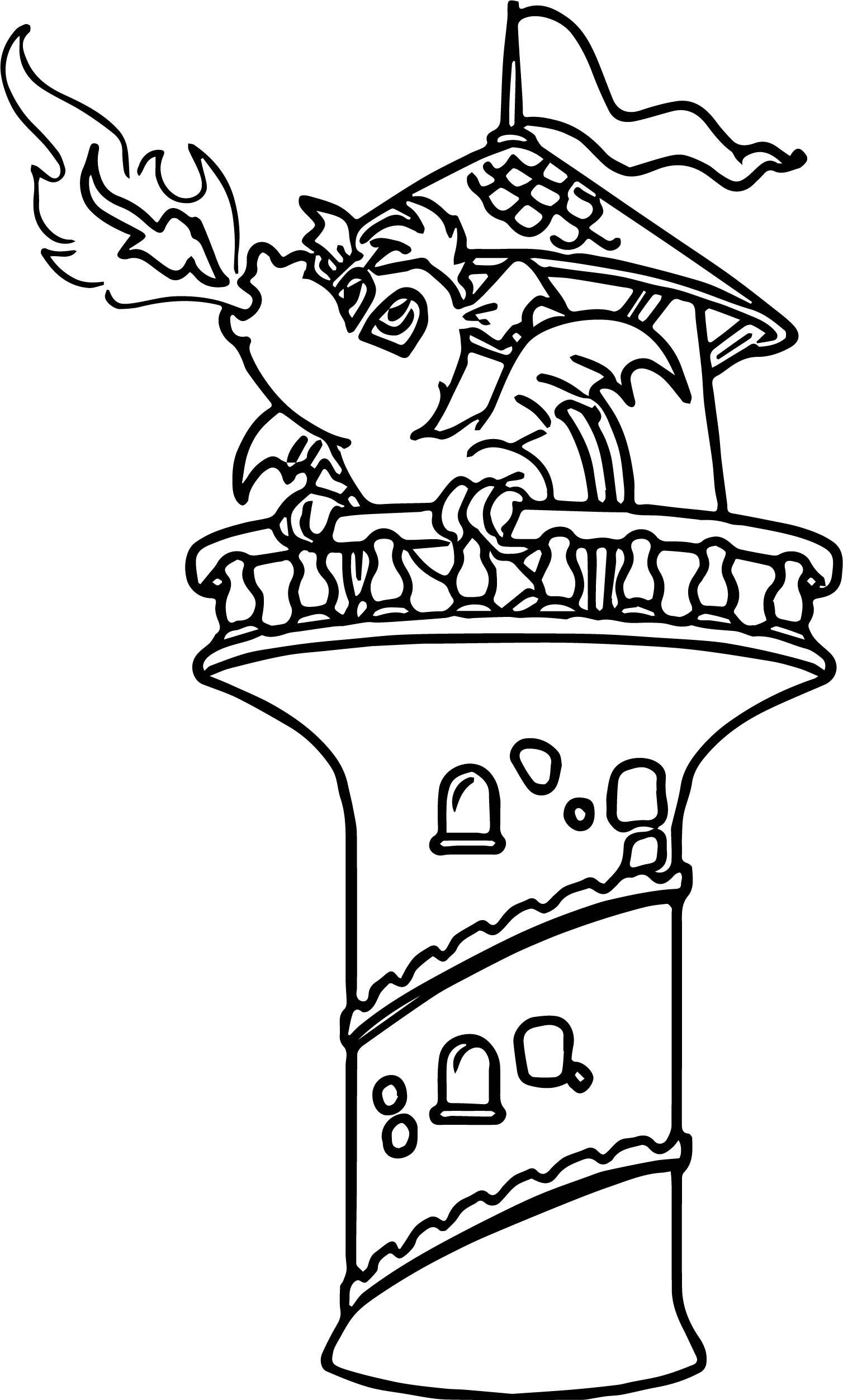 Dragon fire castle coloring page for Dragon and castle coloring pages