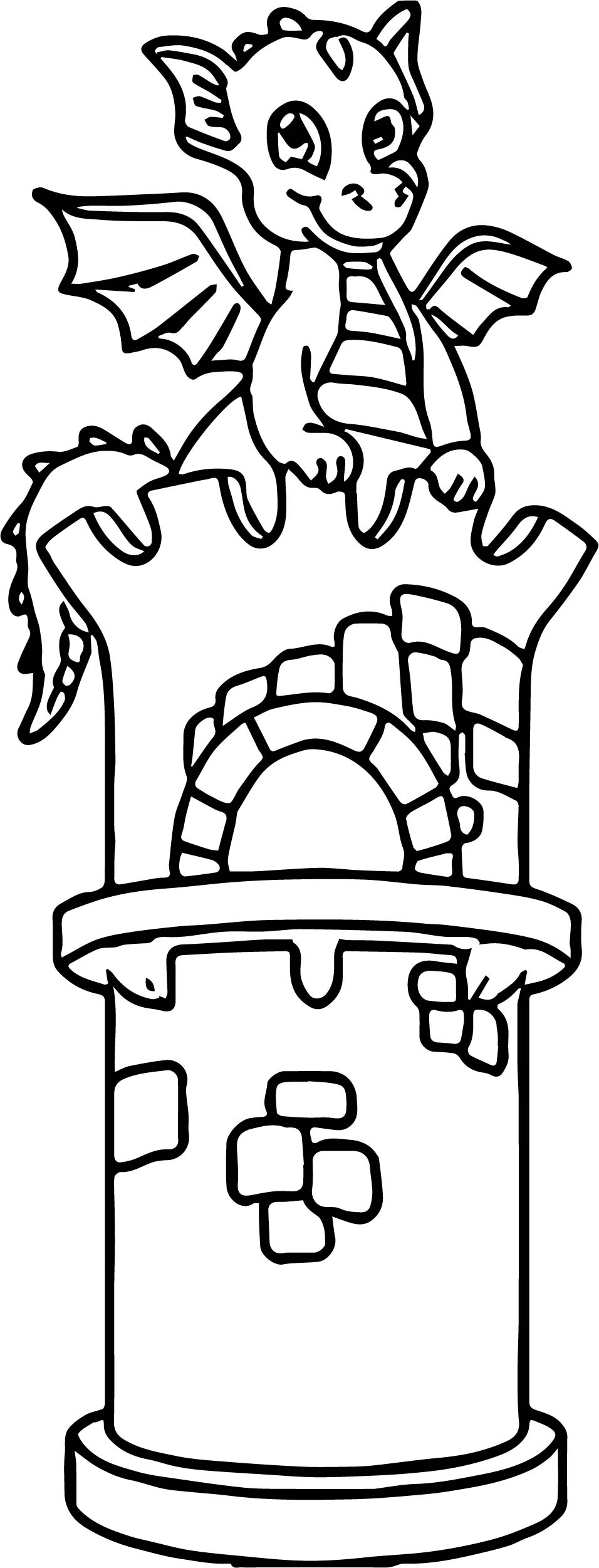 Dragon front castle coloring page for Dragon and castle coloring pages