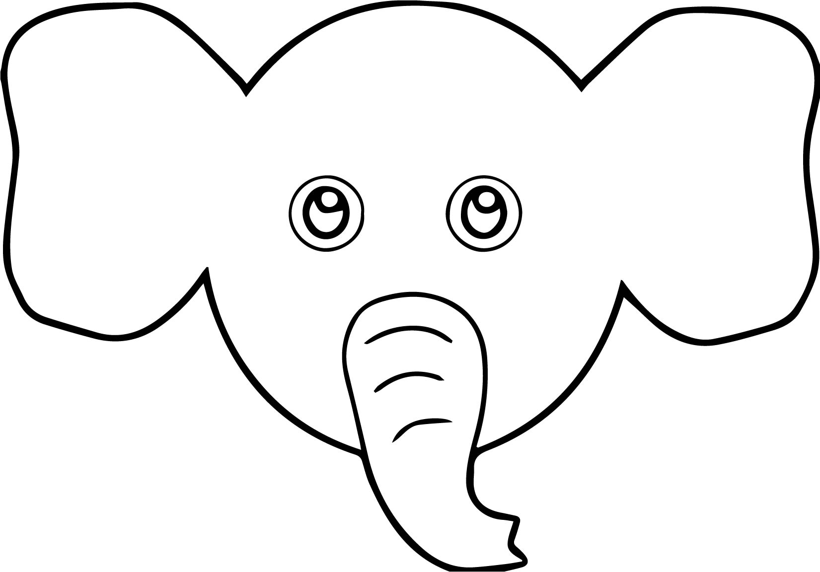 Elephant Face Cartoon Coloring