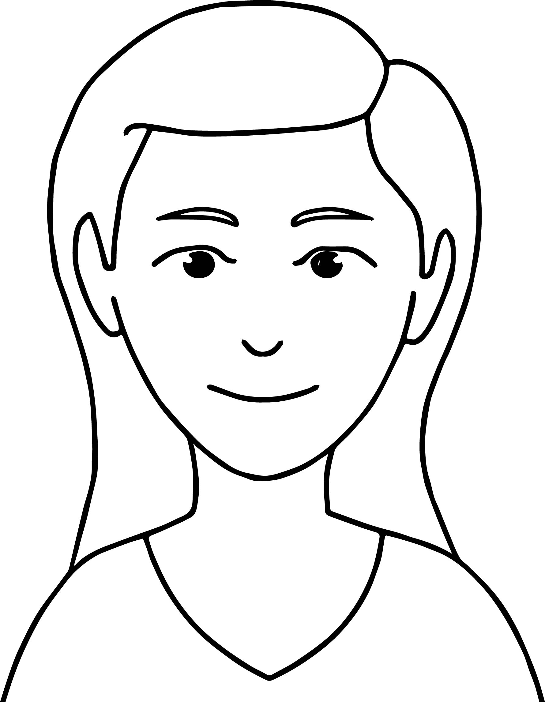 Expressions Calm Female Facial Expression Classroom Coloring Page