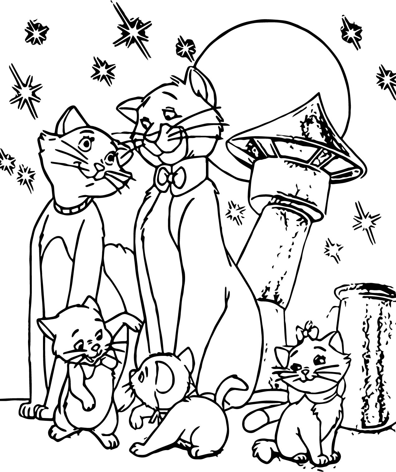 Family Disney The Aristocats Coloring Page ...