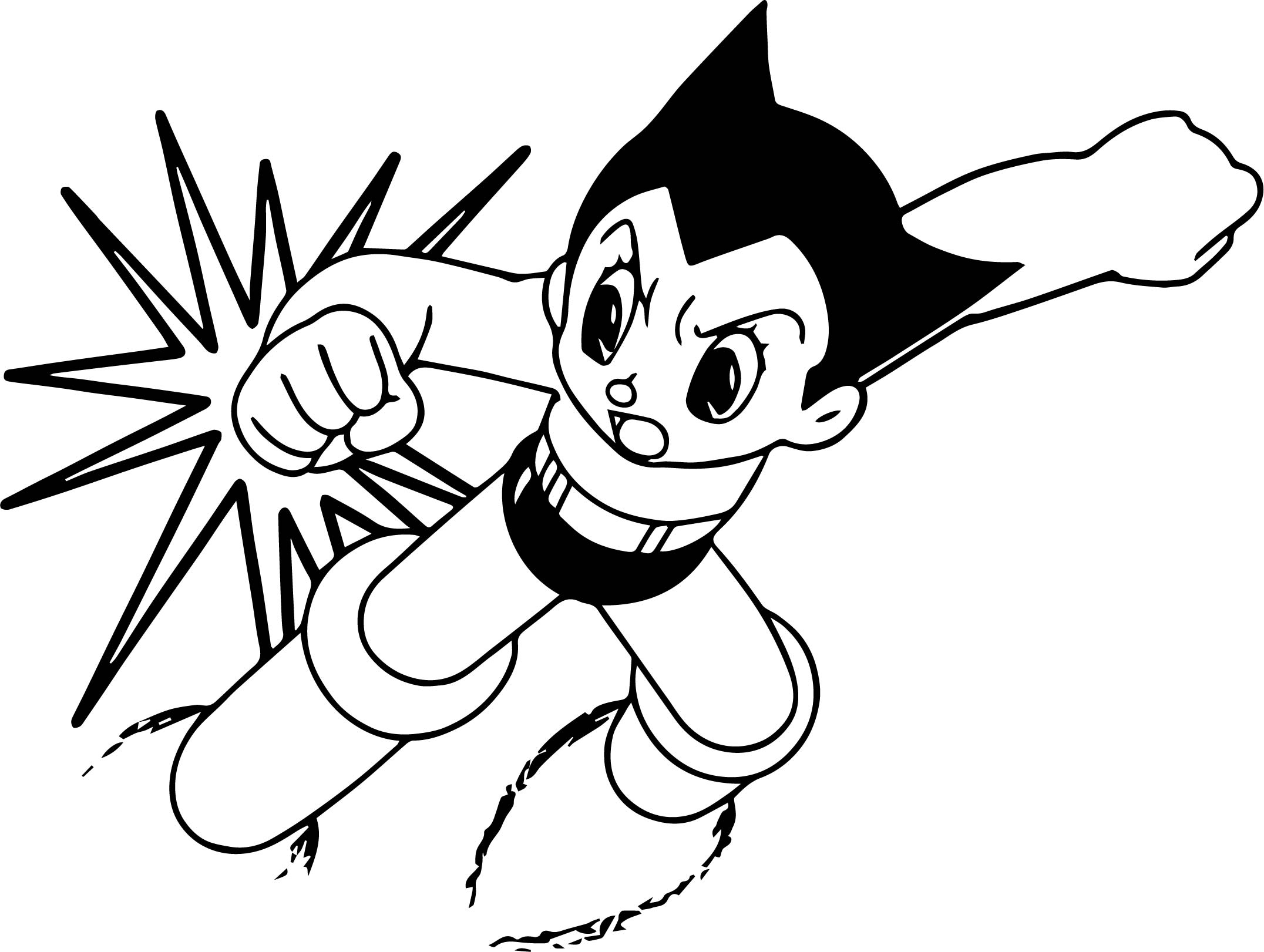 astro boy coloring pages free - fighting astro boy printable cartoon coloring page