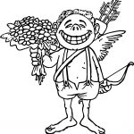 Flower Love Cupido Coloring Page