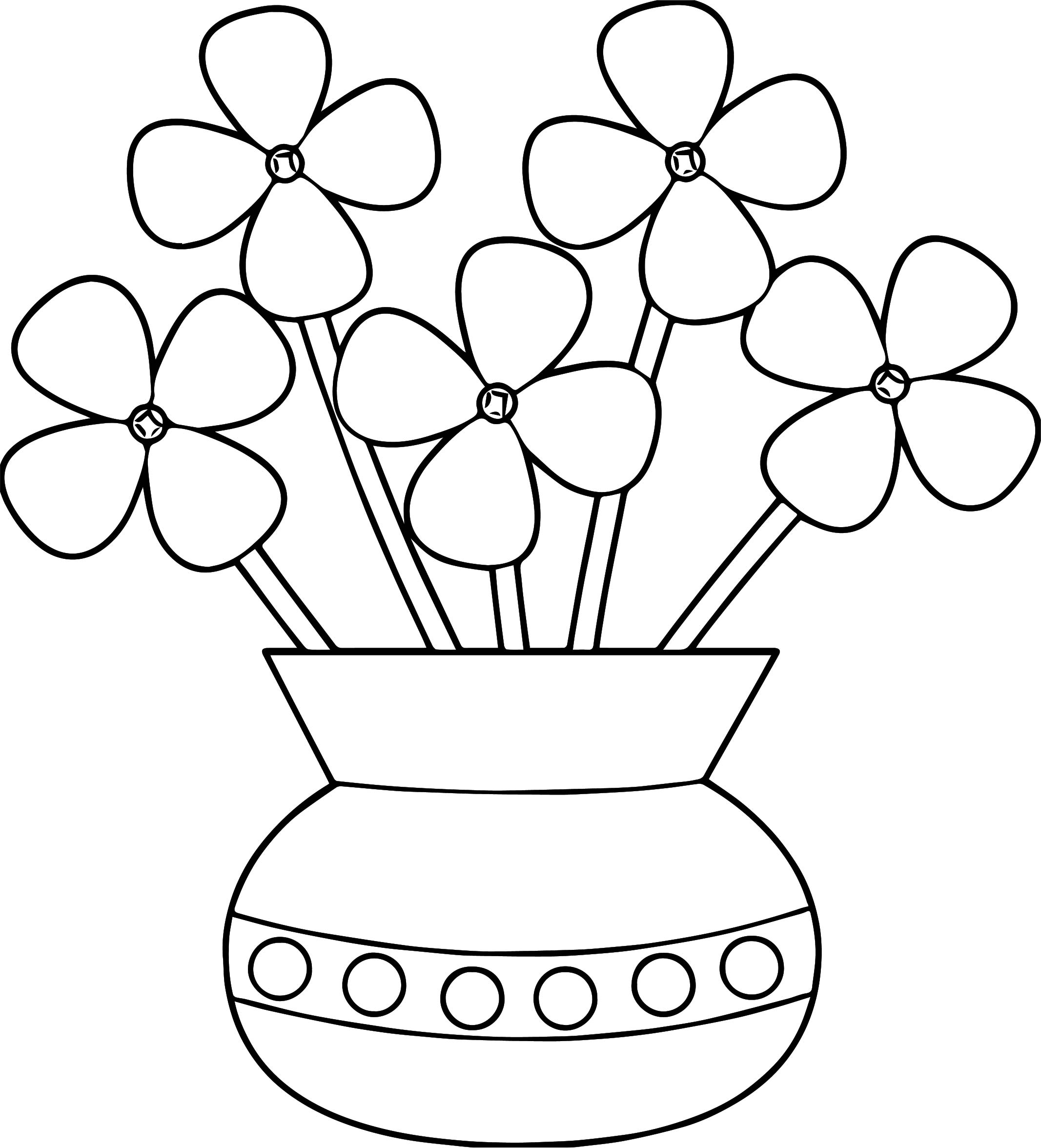 Flowerpot flower coloring page for Coloring pages of a flower