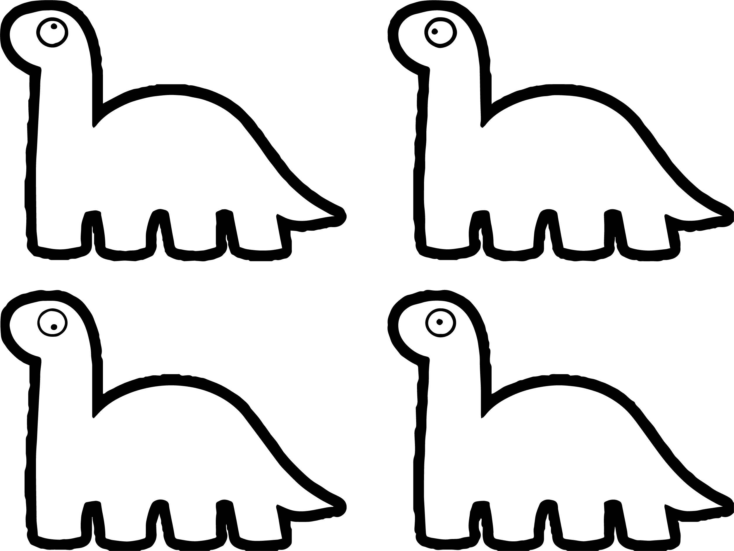 Four Dino Icons Hi Dinasour Coloring Page