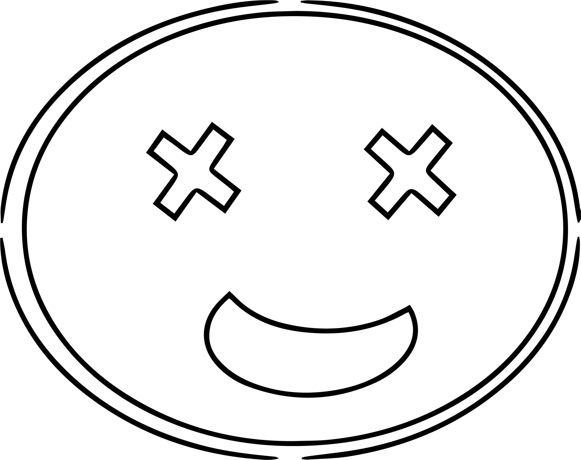 Funny Face X Eye Cartoon Coloring Page
