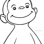 George Monkey Face Smile Coloring Page