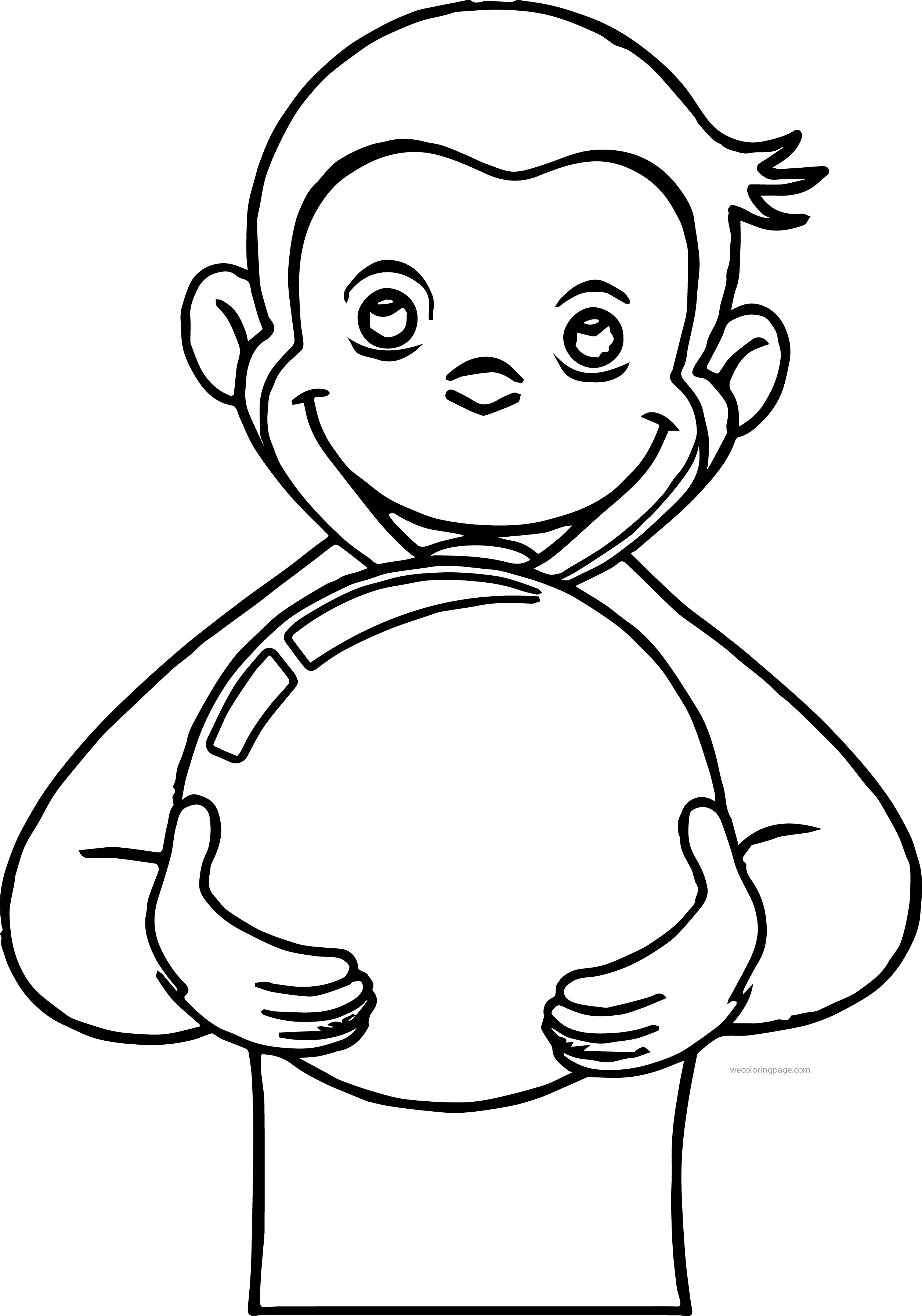 George Monkey Playing Balloon Coloring Page