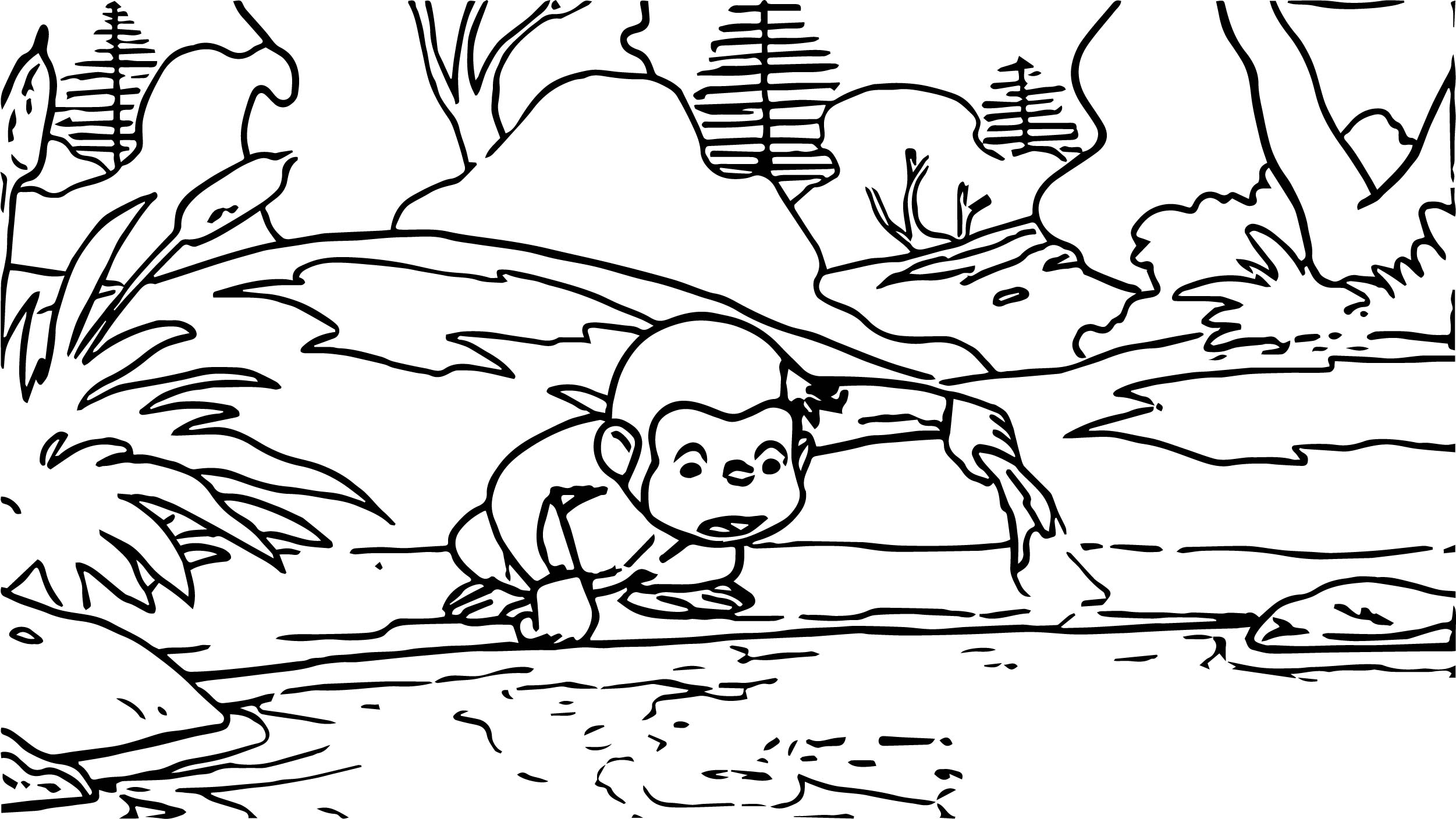 George Monkey River Coloring Page