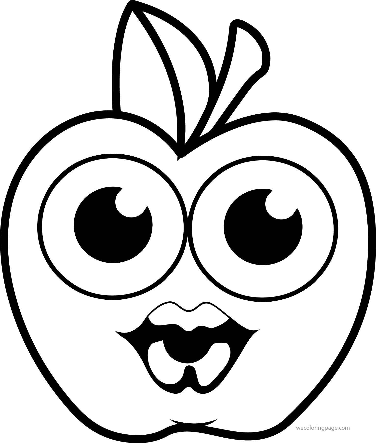 Girl Cartoon Apple Kiss Coloring Pages