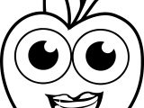 Girl Cartoon Apple Smile Coloring Pages