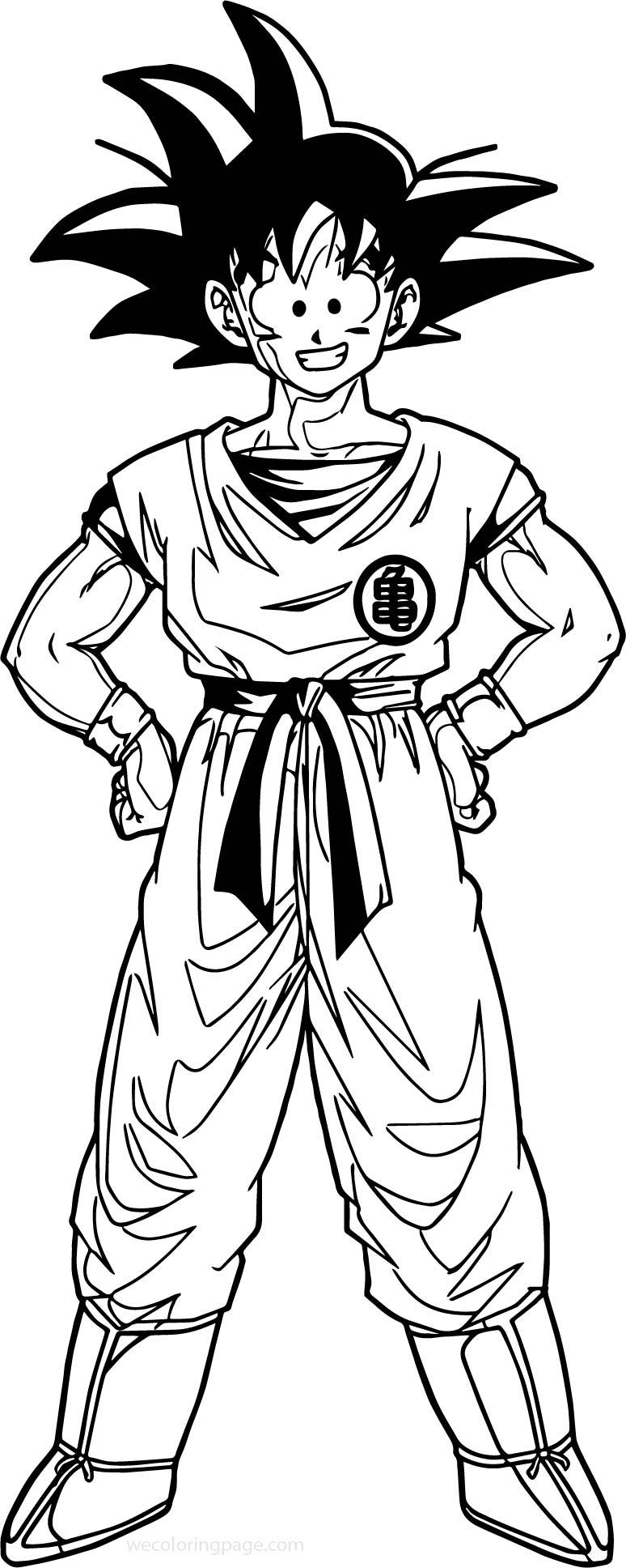 Goku Happy Coloring Page