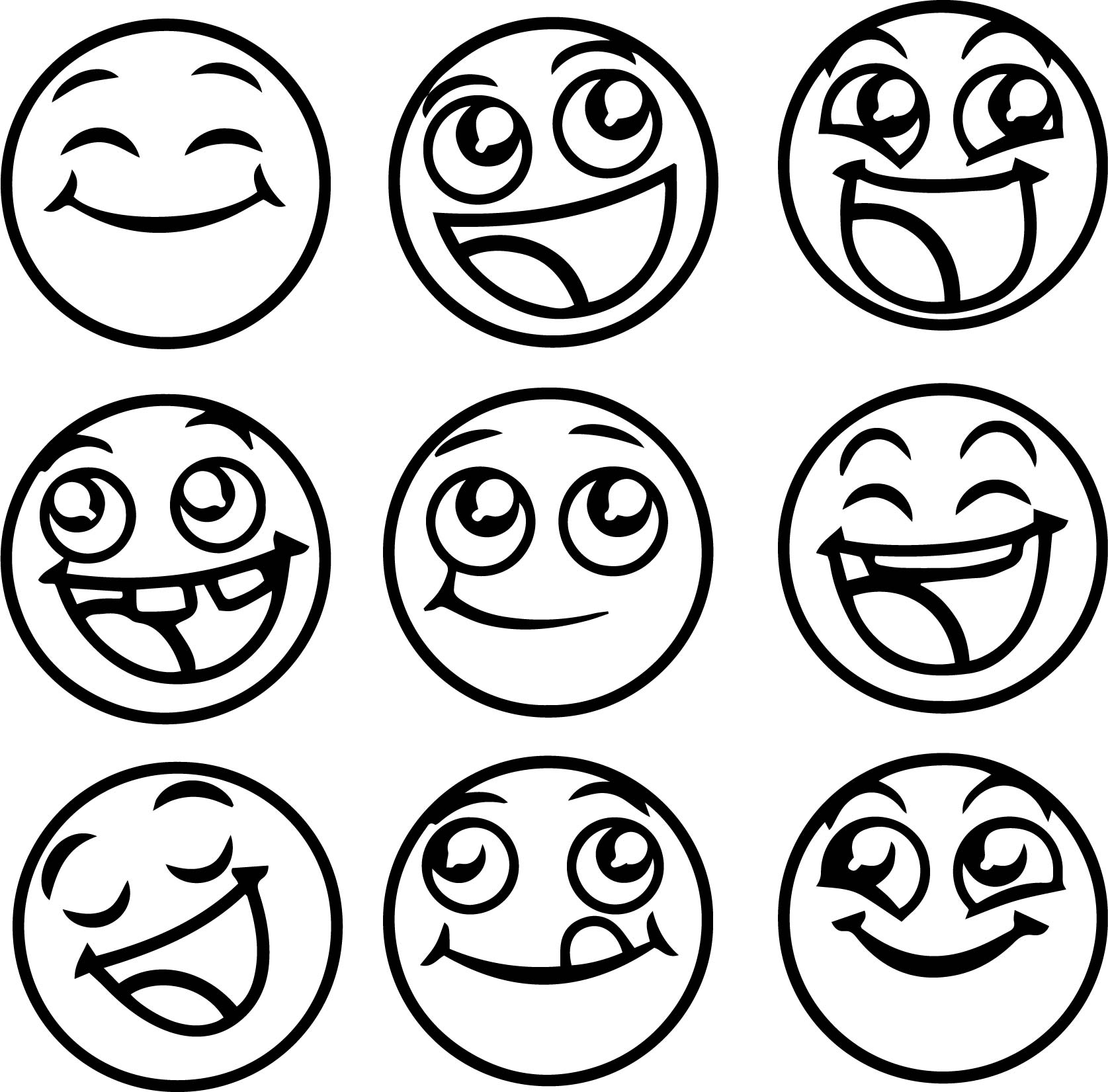 Happy Emoticons All Coloring Page