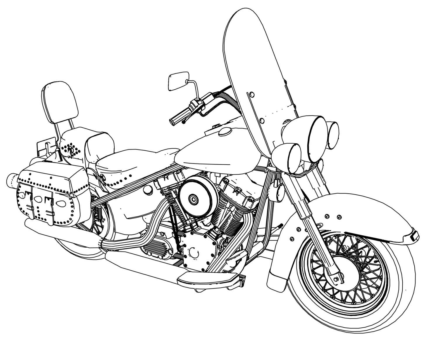 Harley Fatboy Motorcycle Coloring Page