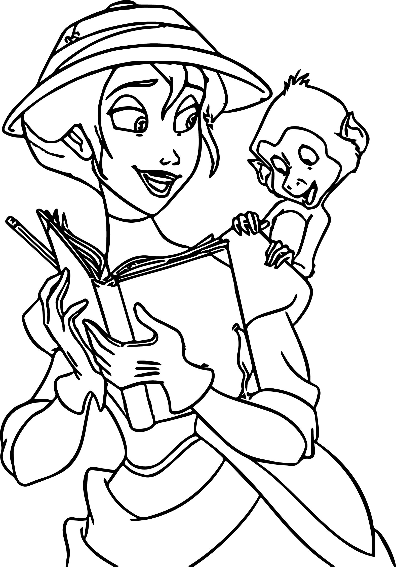 Jane Monkey Reading Book Coloring Page