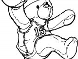 Kids Bear Playing Basketball Coloring Page