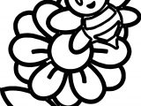 Little Bee On A Flower Coloring Page