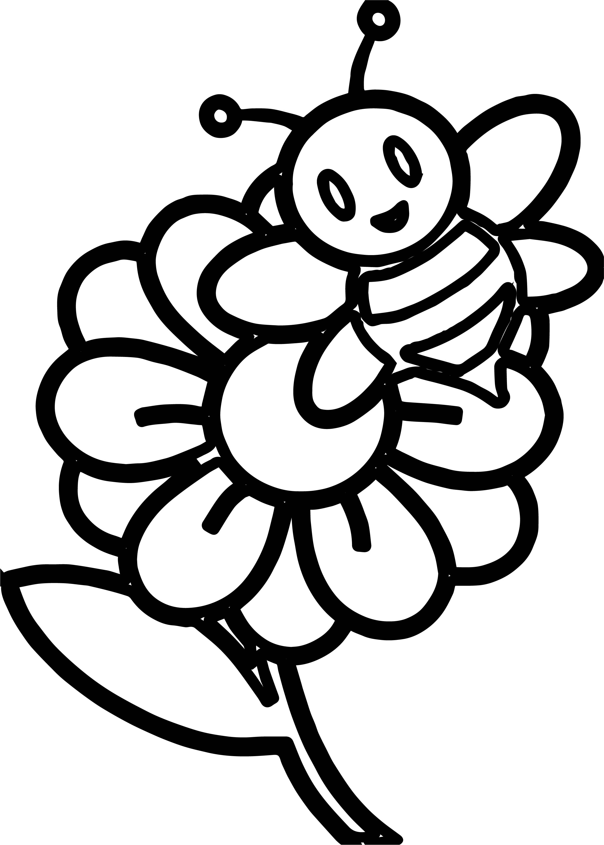 small flower coloring pages - little bee on a flower coloring page