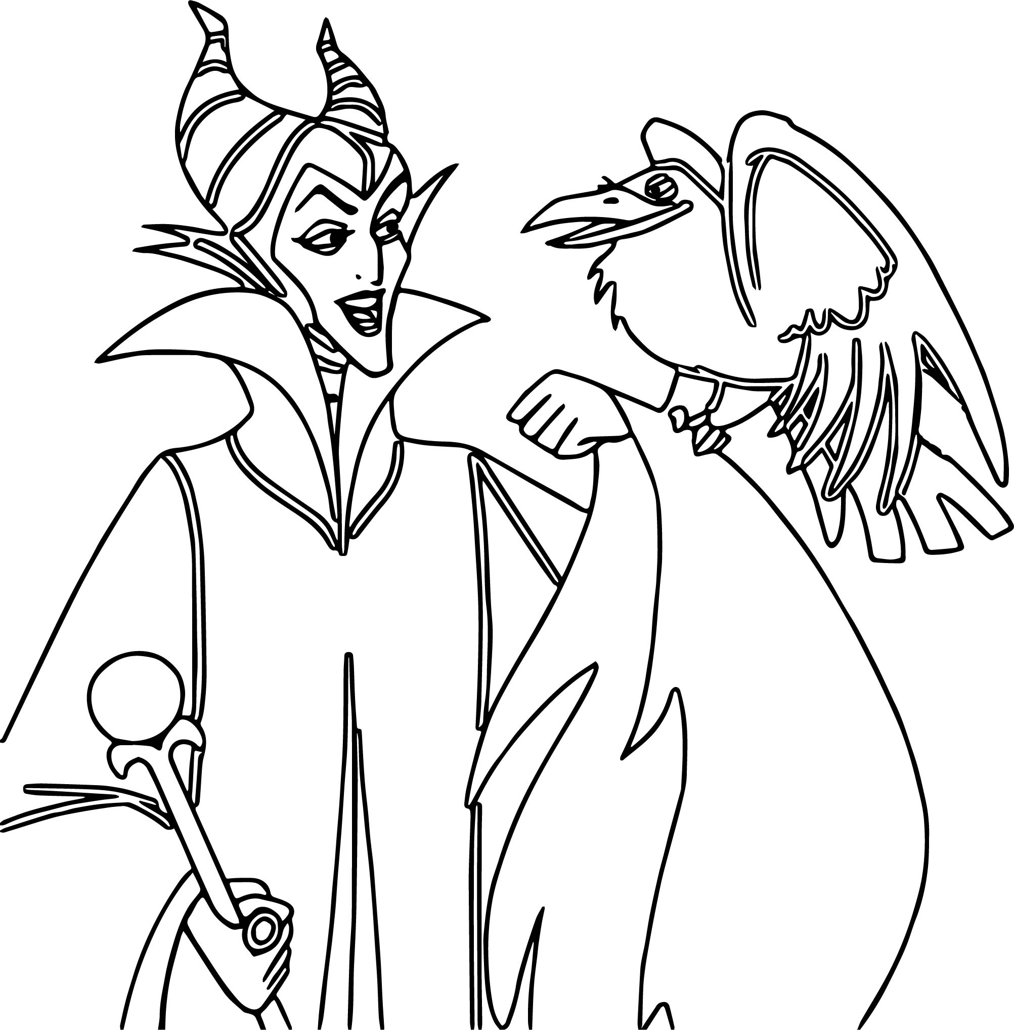 Maleficent And Crow Coloring Page Wecoloringpage