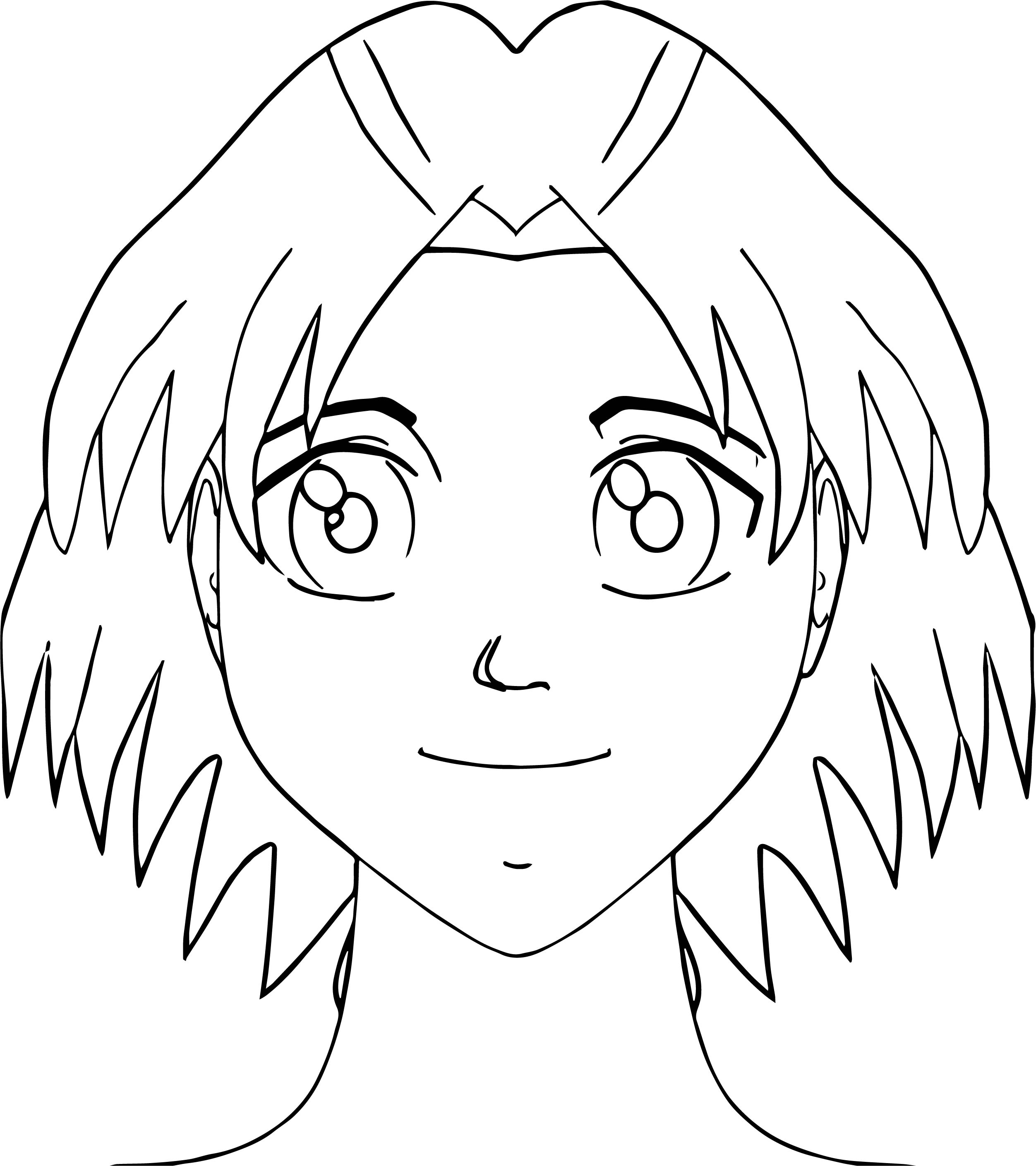 Manga Face Coloring Page