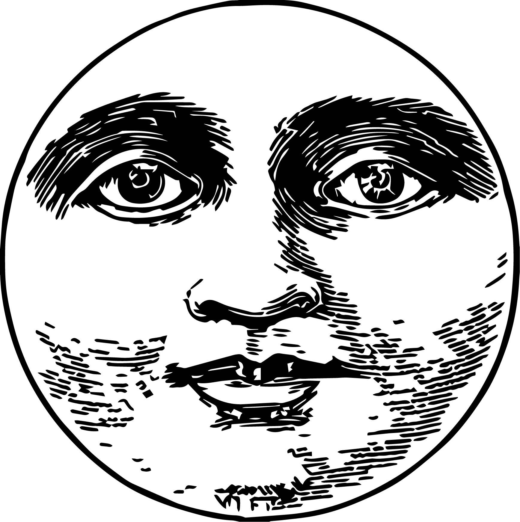 Moon Realistic Face Coloring Page