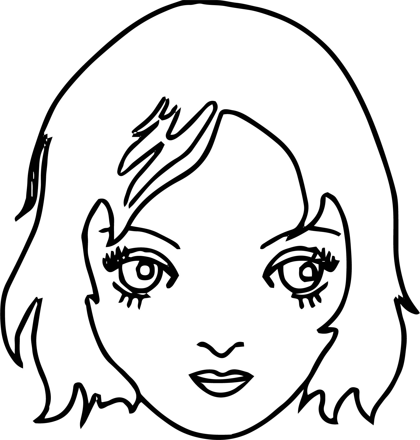 New girl face coloring page for Coloring pages of girls faces
